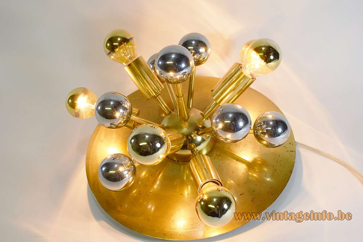 S.A. Boulanger Brass Sputnik Flush Mount 5 light bulbs 1960s 1970s Belgium round wall lamp MCM