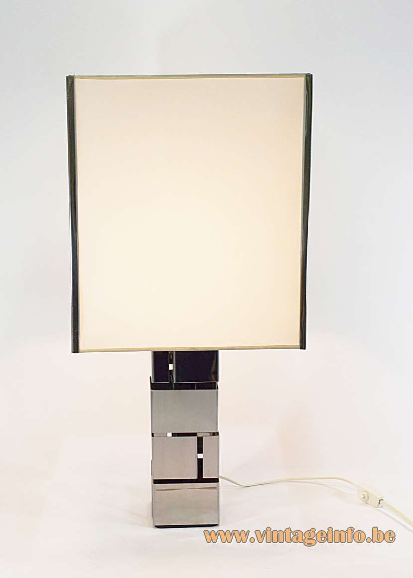 Curtis Jeré table lamp skyscraper stainless steel Inox square white lampshade 1960s 1970s MCM Mid-Century Modern
