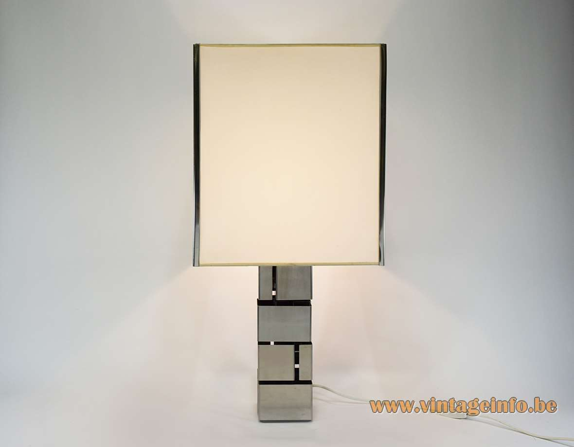Curtis Jeré Skyscraper Table Lamp stainless steel Inox square white lampshade 1960s 1970s MCM