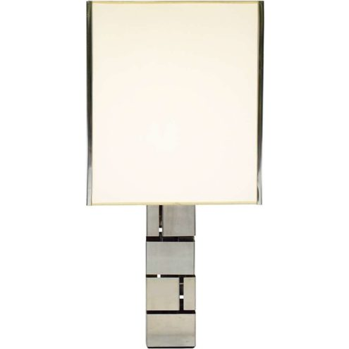 Curtis Jeré skyscraper table lamp square base folded stainless steel slats white lampshade 1960s 1970s