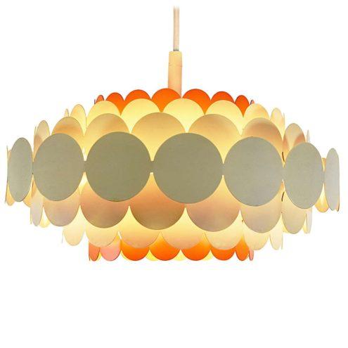 DORIA metal pendant lamp round orange & white painted 7 layers iron circles lampshade 1960s 1970s Germany