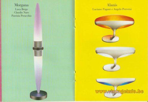 Morgana Floor Lamp (1991) – Luca Bergo, Claudio Naro, Patrizia Peracchio - Alanis Wall Lamp – Luciano Pagani and Angelo Perversi