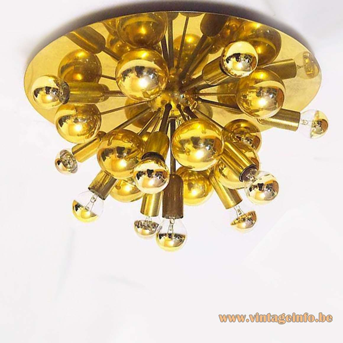 Gebrüder Cosack Brass Sputnik Flush Mount 1960s 1970s Germany round ceiling lamp MCM