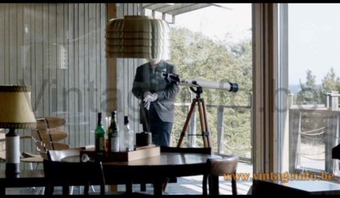 Hans-Agne Jakobsson Lamingo T 742 pendant lamp used as a prop in the 2008 TV series Wallander (S1E1)