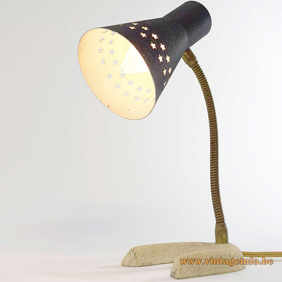 Horseshoe desk lamp table lamp perforated stars lampshade brass gooseneck 1950s 1960s cast iron base wrinklepaint MCM Mid-Century Modern