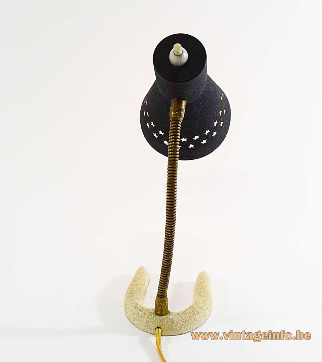 Horseshoe Perforated Stars Desk Lamp 1950s 1960s brass gooseneck aluminium lampshade cast iron base wrinklepaint