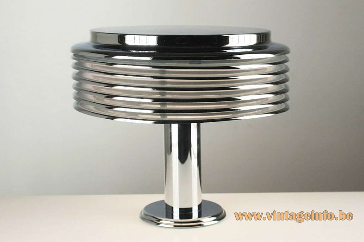 Kazuo Motozawa Saturno Table Lamp chrome metal mushroom 1970s Yamagiwa Japan Staff Leuchten Germany