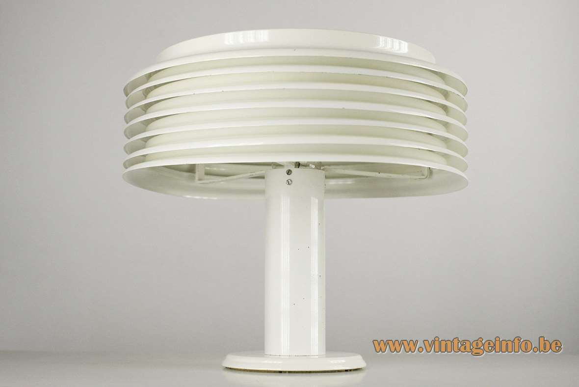 Kazuo Motozawa Saturno table lamp white round metal mushroom slats design Staff Leuchten Germany 1970s