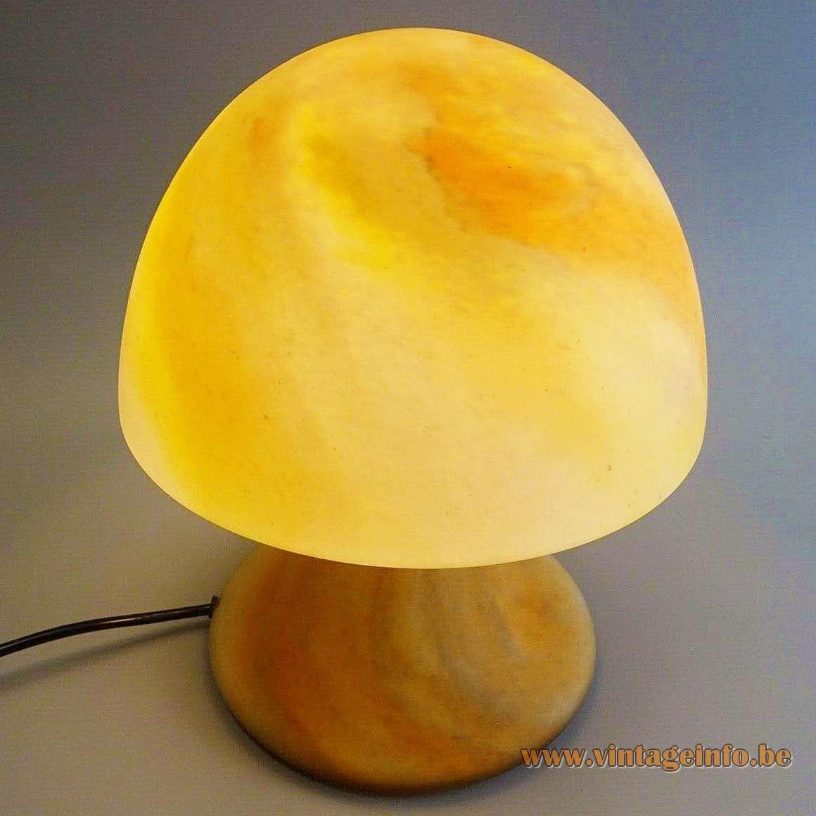 Limburg Glashütte Art Nouveau Style Mushroom Table Lamp 1970s 1980s brown red yellow glass brass