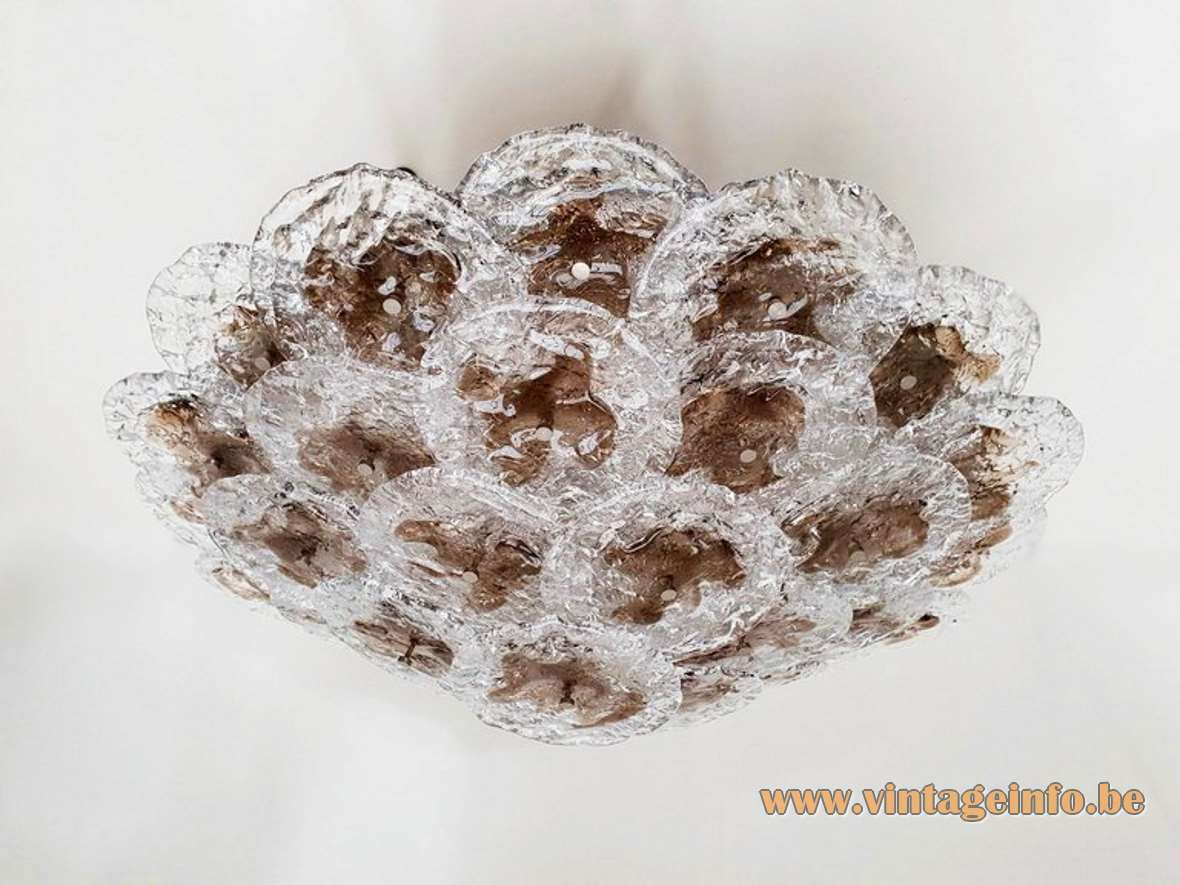 Mazzega large clear & brown discs flush mount 33 overlapping embossed Murano round glass dishes 1980s 1990s