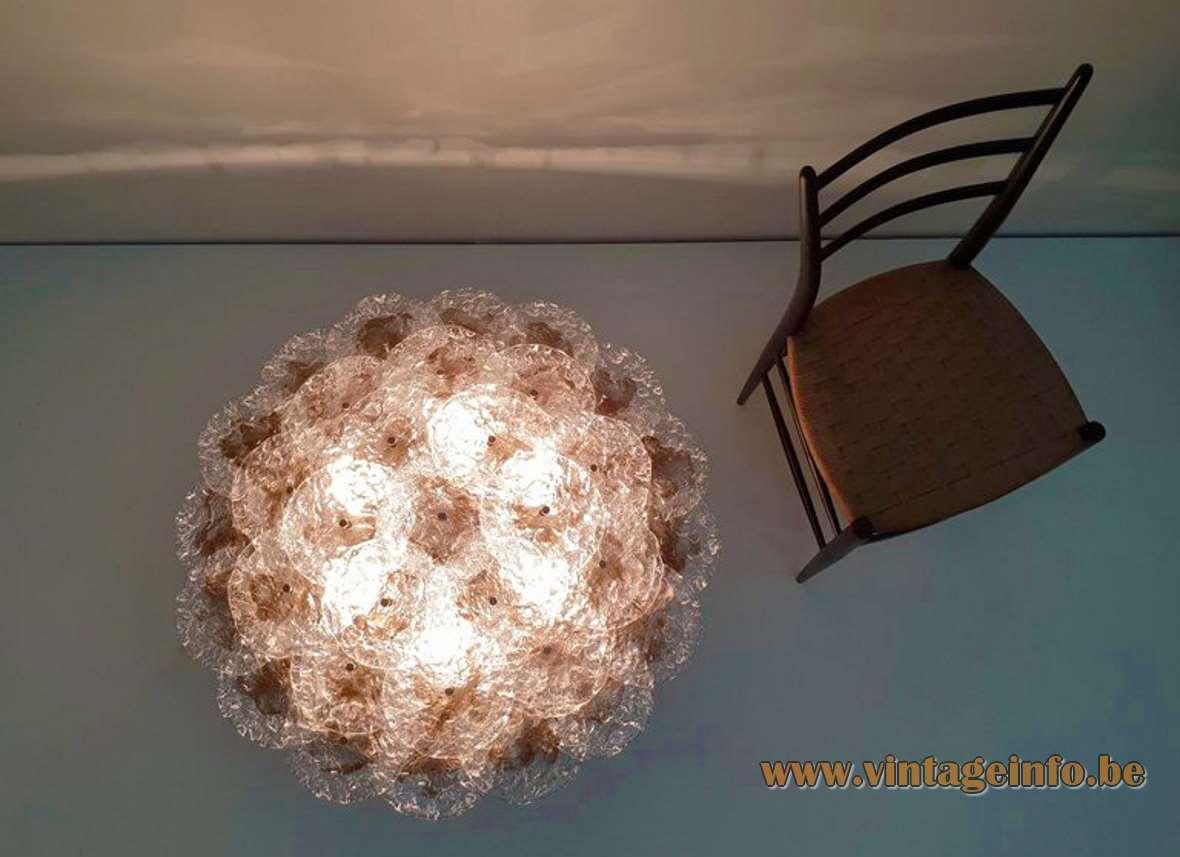 Mazzega Large Clear Brown 33 Discs Flush Mount Murano crystal glass wall lamp 6 light bulbs