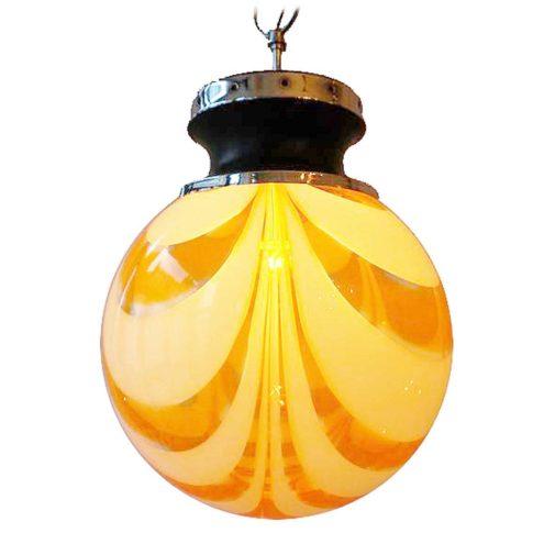 Murano globe pendant lamp white circles striped clear orange glass design: Carlo Moretti 1960s 1970s Italy