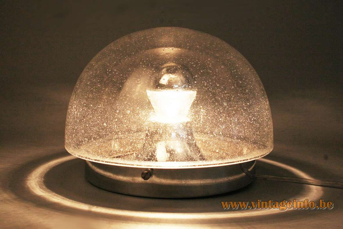 Peill + Putzler bubble glass flush mount wall lamp half round clear lampshade chromed metal 1960s 1970s
