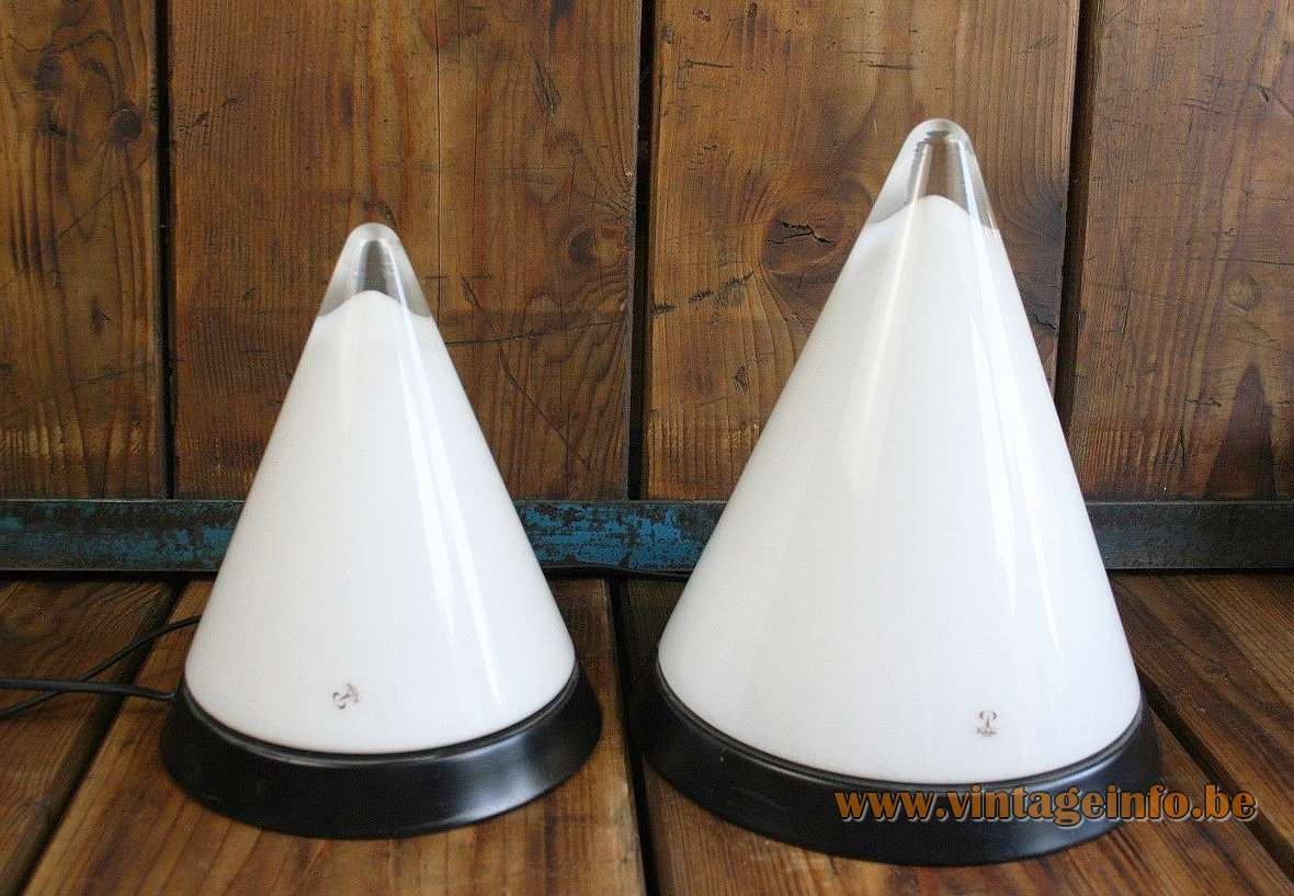 Peill + Putzler Kibo pyramid table lamp opal clear conical glass round black metal base 2000s Germany