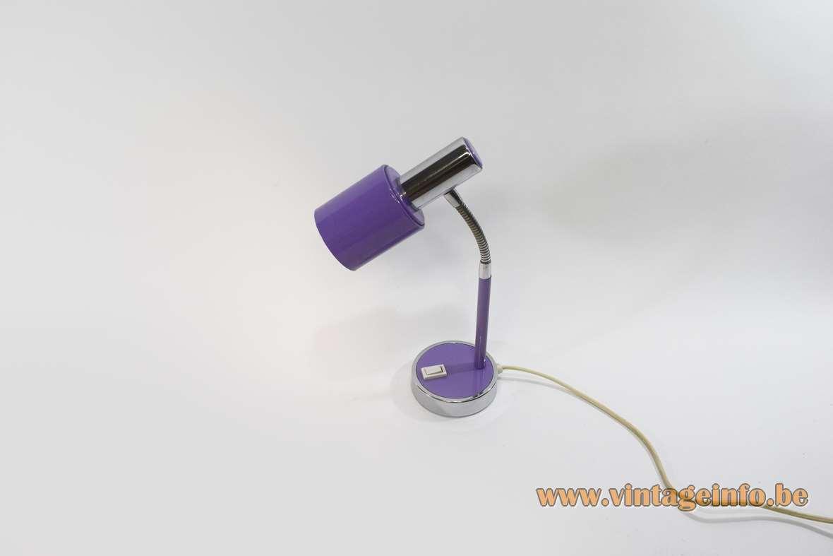 Prova 1970s Desk Lamp Italy round base chrome gooseneck E14 socket purple BHS Massive MCM