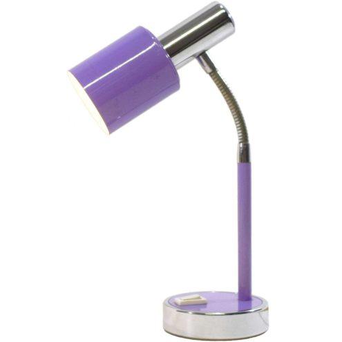 Prova 1970s desk lamp purple round base rod & lampshade chrome goose-neck & tube E14 lamp socket Italy