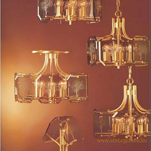 Sische Simon & Schelle Luigi Colani Baum chandeliers cut smoked glass brass gold coloured Germany