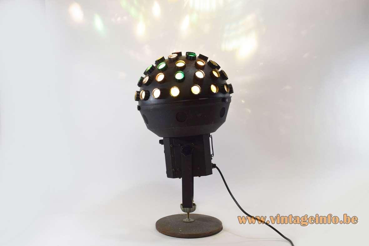Skytec Honeycomb disco light black globe wrinkle paint 1990s 2000s 2 DRA halogen bulbs 200 - 300 watt 220 volt