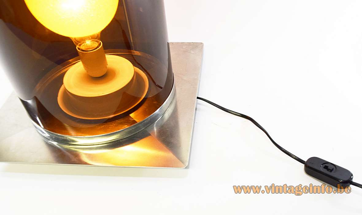 Smoked acrylic tube floor lamp square stainless steel base and brown translucent Perspex pipe 1960s 1970s