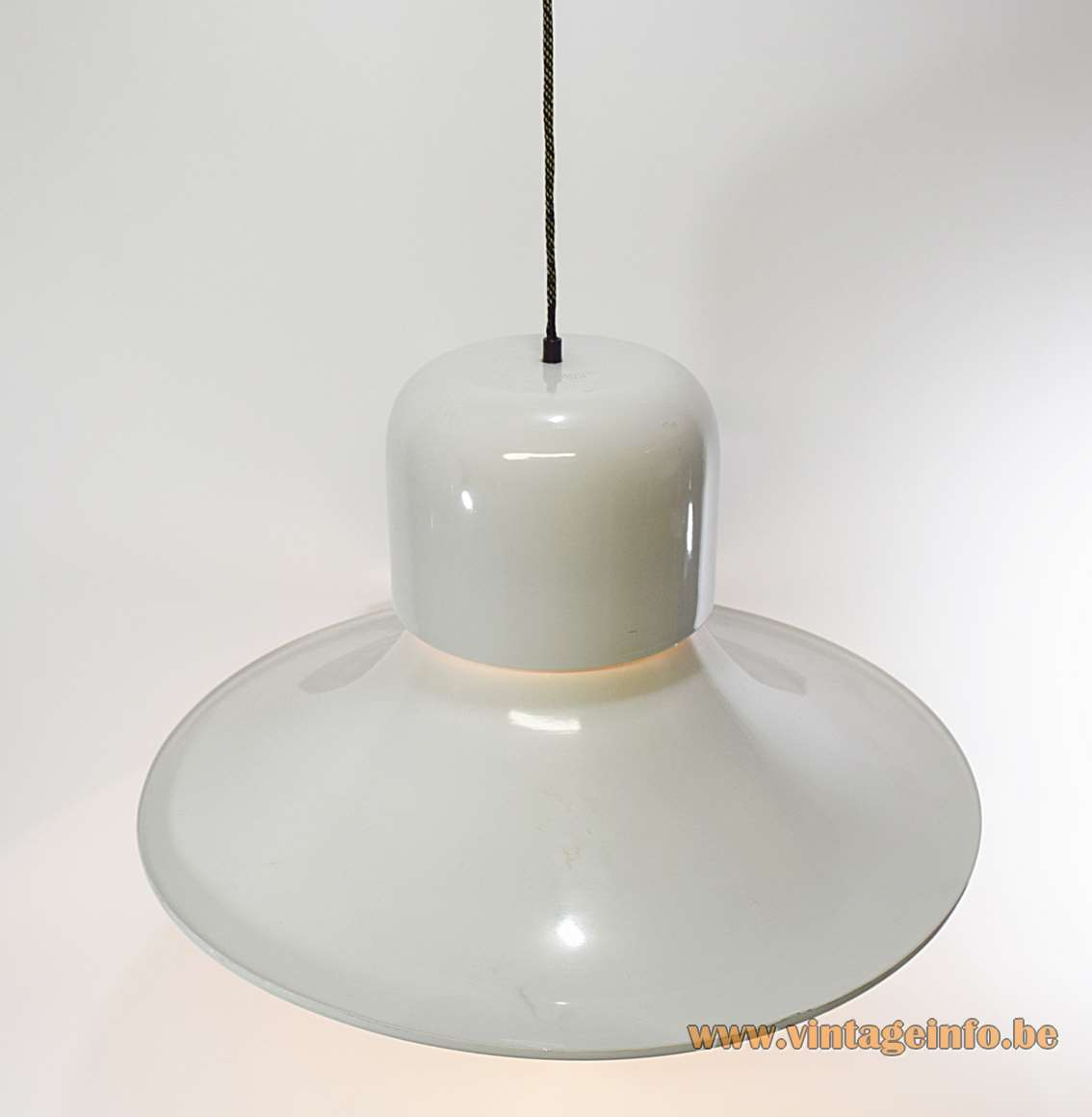 Stilnovo Campana pendant lamp big white aluminium witch hat lampshade 1970s Joe Colombo design Italy