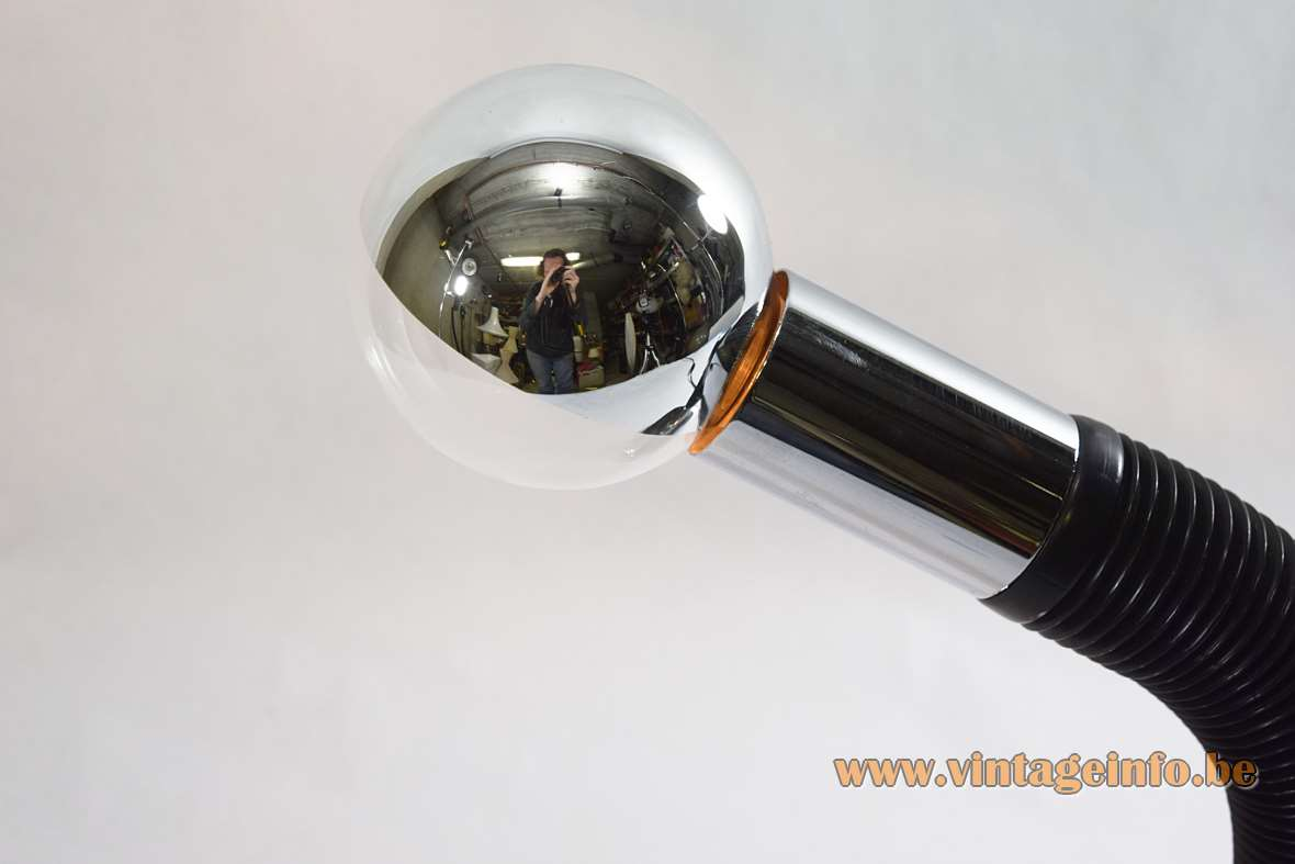 Targetti Sankey Elbow Desk Lamp Bendy black plastic gooseneck chrome 1970s 1980s globe mirror