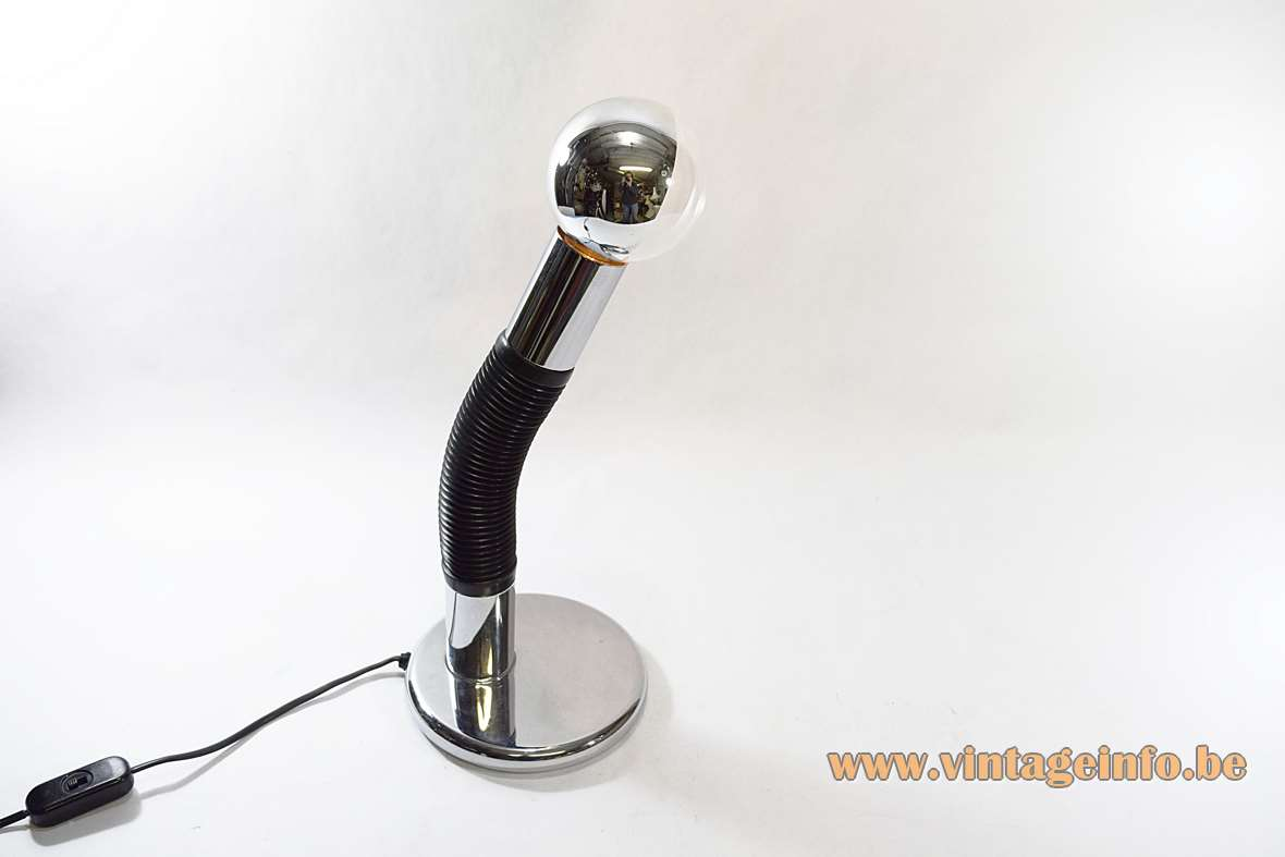 Targetti Sankey Elbow desk lamp chrome base black plastic gooseneck globe side mirror bulb Bendy 1970s, 1980s