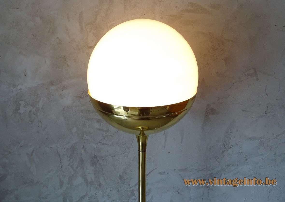 Vereinigte Werkstätten brass globe floor lamp long rod white opal glass lampshade built-in dimmer 1970s Germany