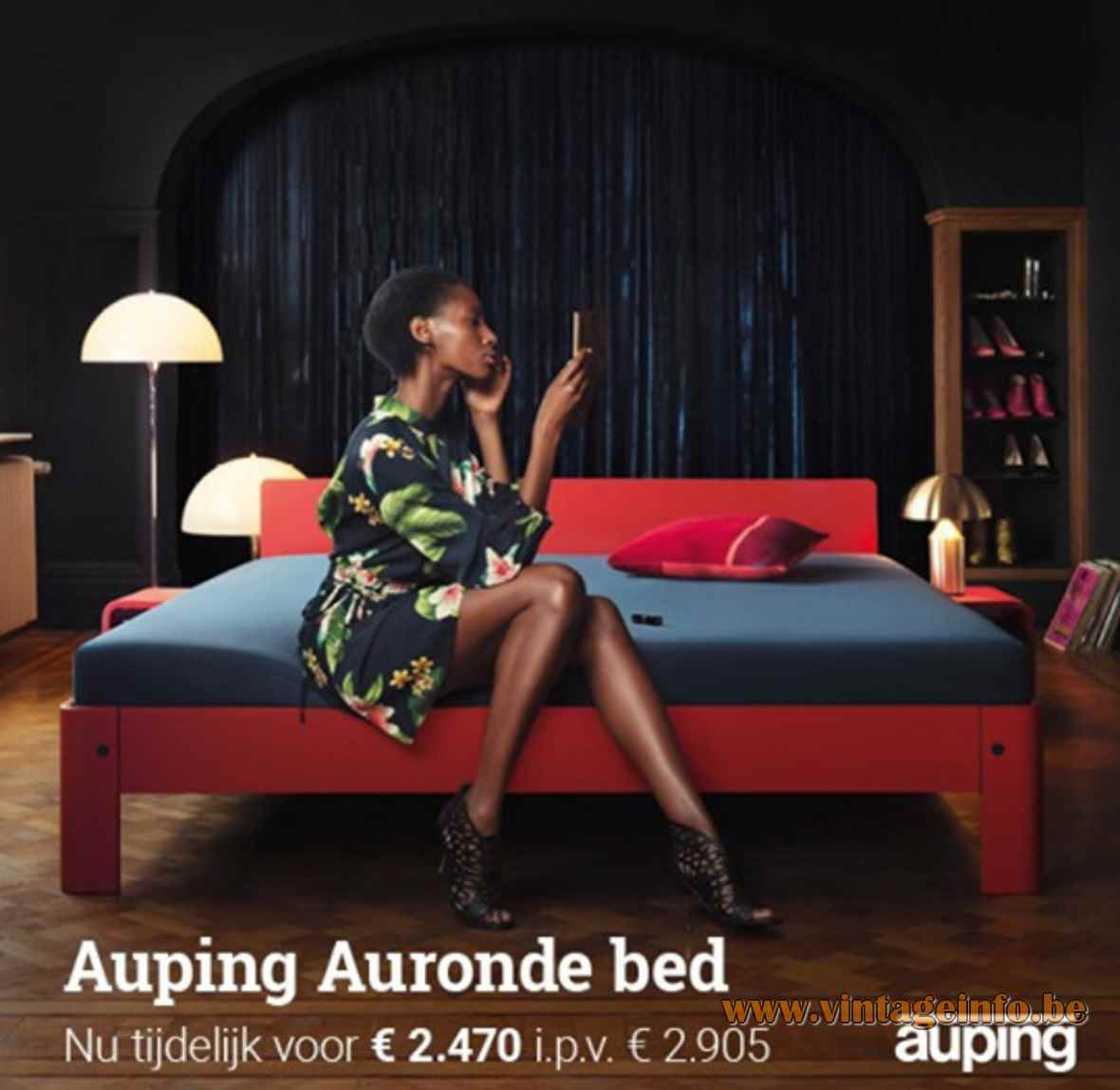Verner Panton Panthella floor and table lamp used for an Auping bed publicity in October 2019