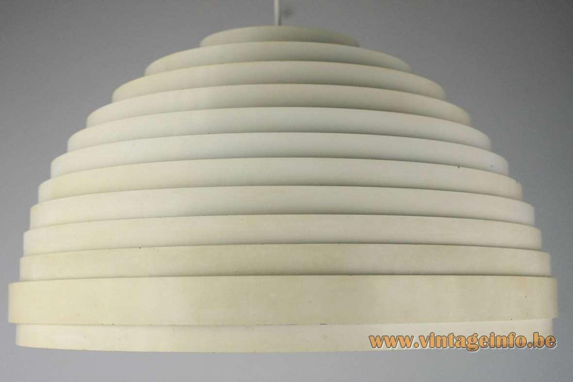 Vest Leuchten Dynamic pendant lamp white enameled metal 12 rings slats acrylic frosted round diffuser 1960s 1970s