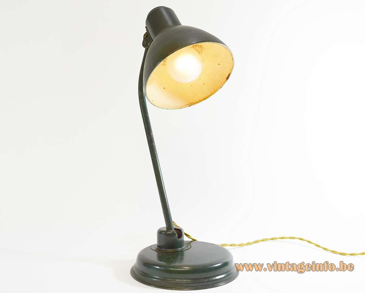 1930s Industrial Metal Desk Lamp green painted iron and brass round base Christian Dell style Bauhaus