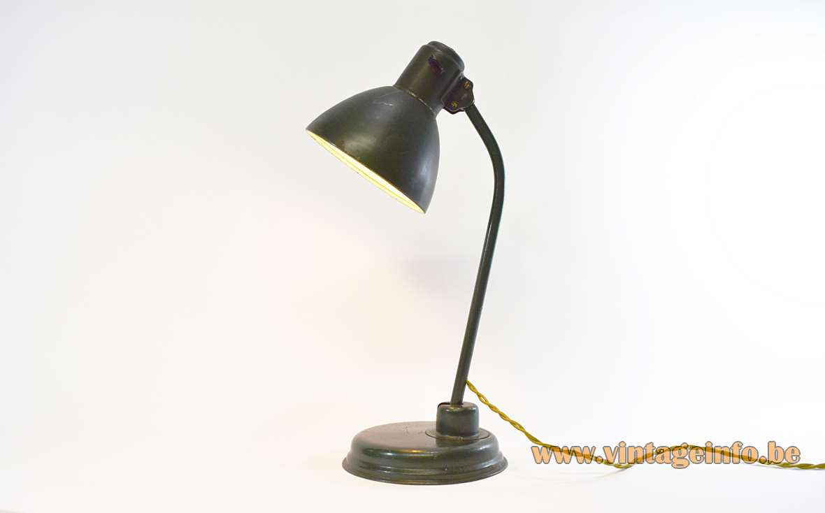 Industrial metal desk lamp Bauhaus art deco green iron brass Christian Dell style 1920s 1930s adjustable