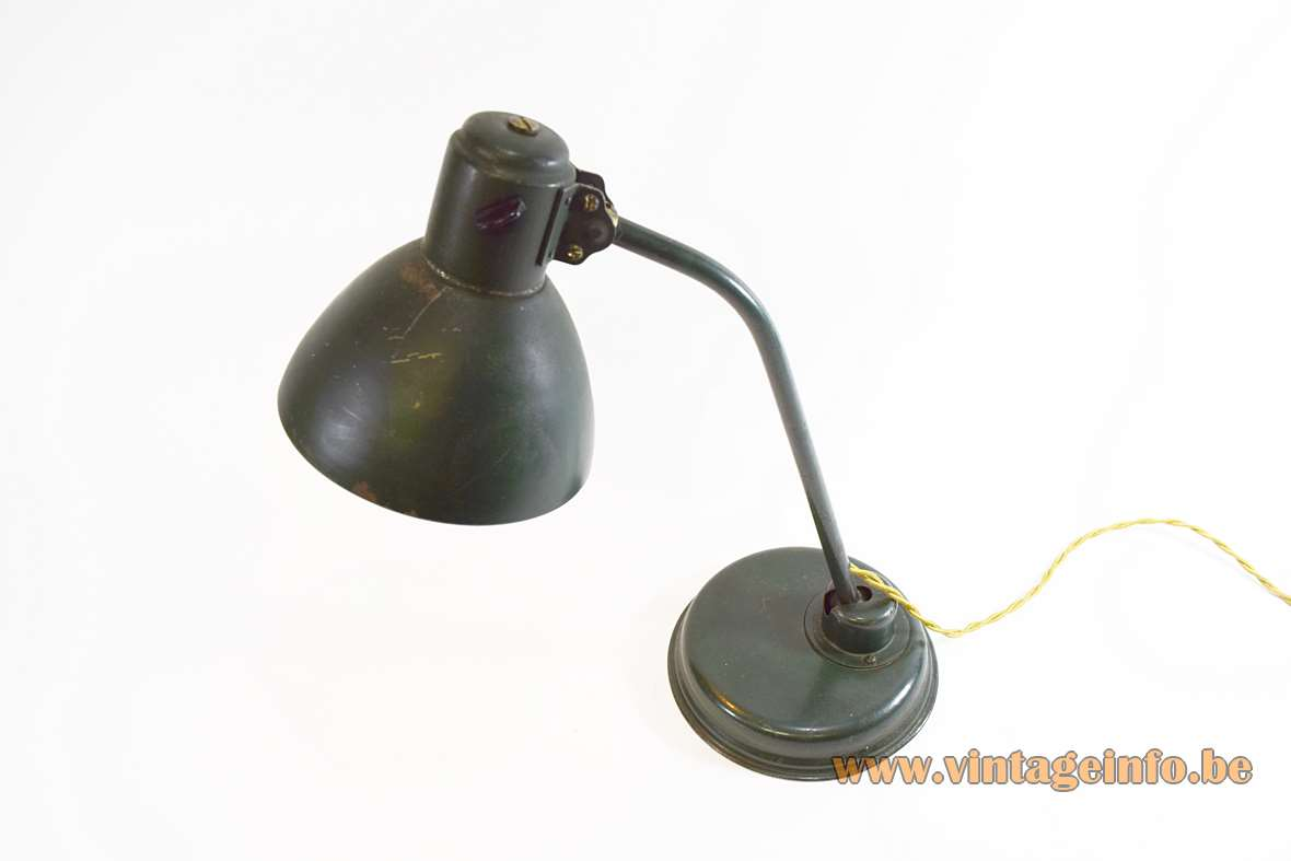 1930s IndustaIndustrial metal desk lamp Bauhaus art deco green iron brass Christian Dell style 1920s 1930s adjustablerial Metal Desk Lamp green painted iron and brass round base Christian Dell style Bauhaus