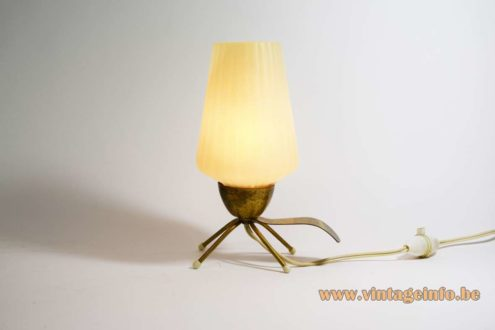 1950s Four-Legged Bedside Lamp Brass base legs and handle white opal plastic lampshade 1960s MCM