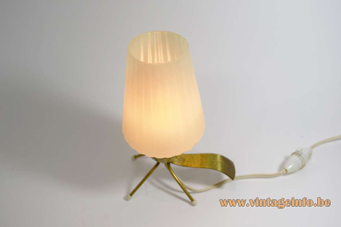 1950s four-legged bedside lamp table with brass feet and handle white opal plastic lampshade 1960s