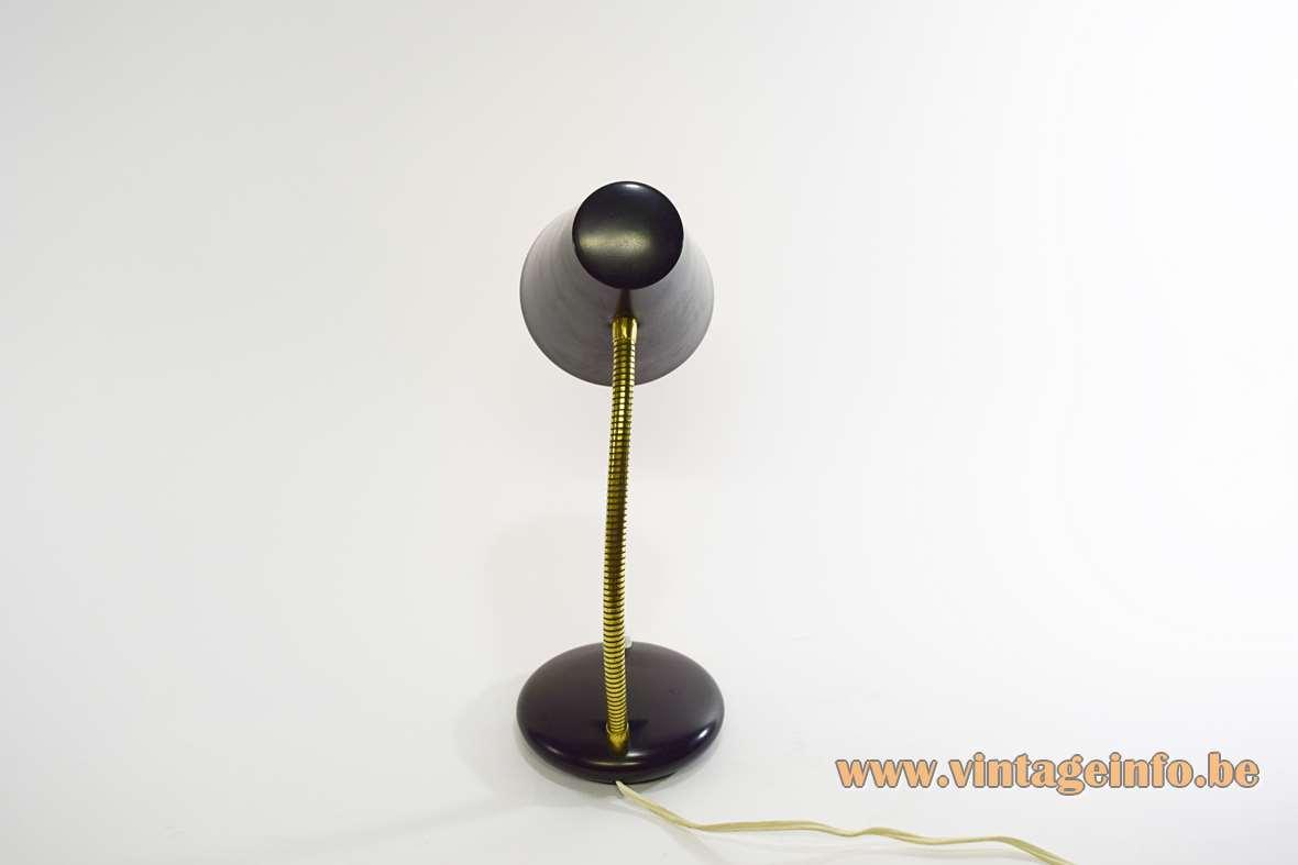 1960s Black Desk Lamp round base brass gooseneck conical aluminium lampshade 1970s Massive Belgium MCM
