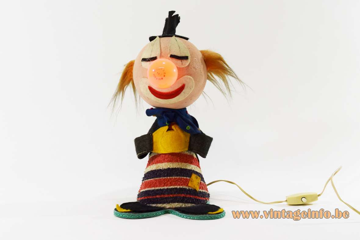 1960s Felt Clown Bobblehead Table Lamp styrofoam cardboard fabric Made in Italy 1970s