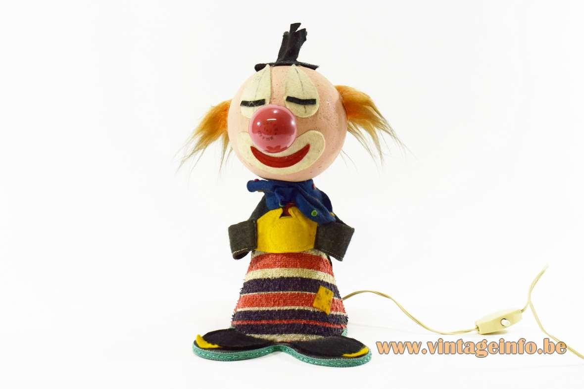 1960s Felt Clown Bobblehead Table Lamp styrofoam cardboard fabric Made in Italy 1970s
