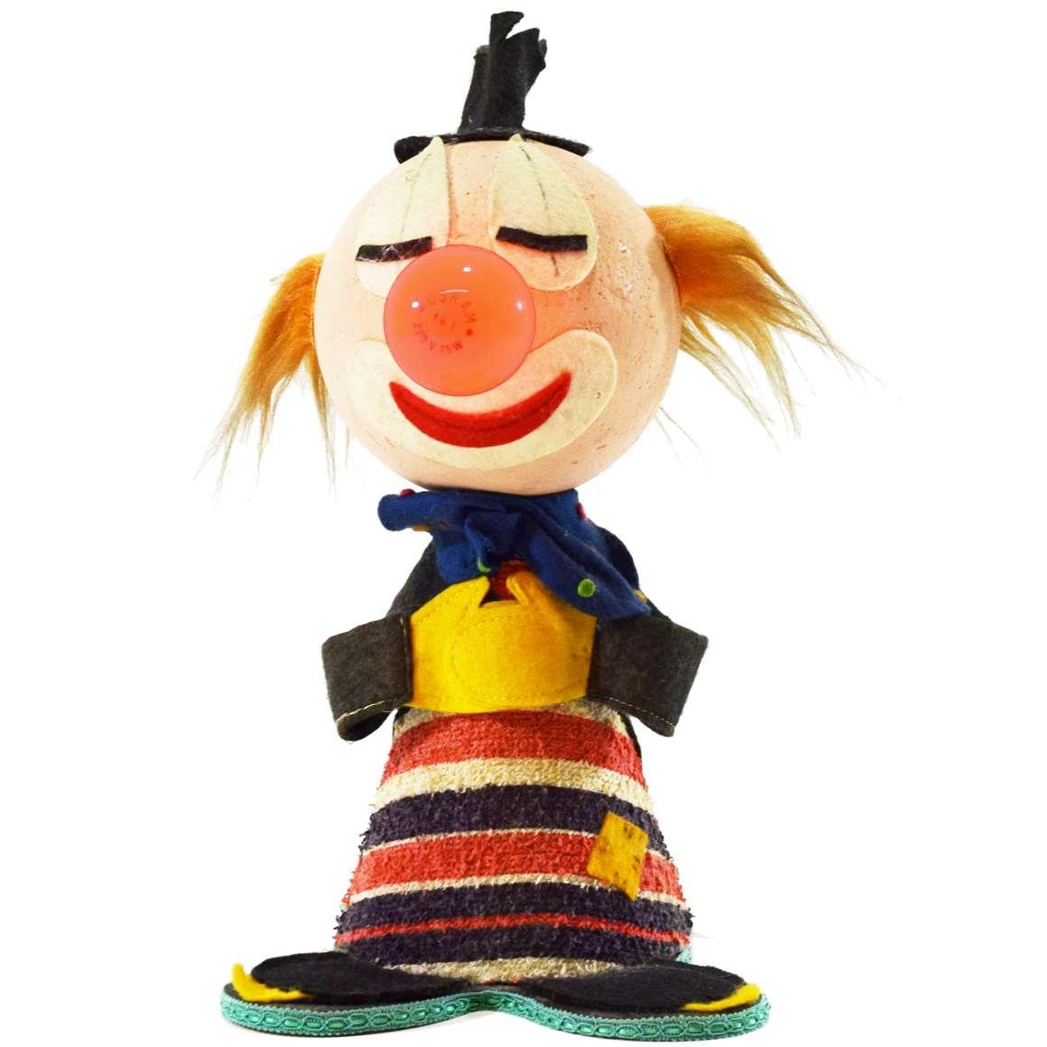 1960s felt clown bobblehead table lamp big head kids night light fabric felt figurine Italy 1970s