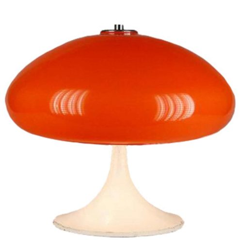 Joan Antoni Blanc Tramo mushroom table lamp white round base orange acrylic lampshade 1960s 1970s Spain