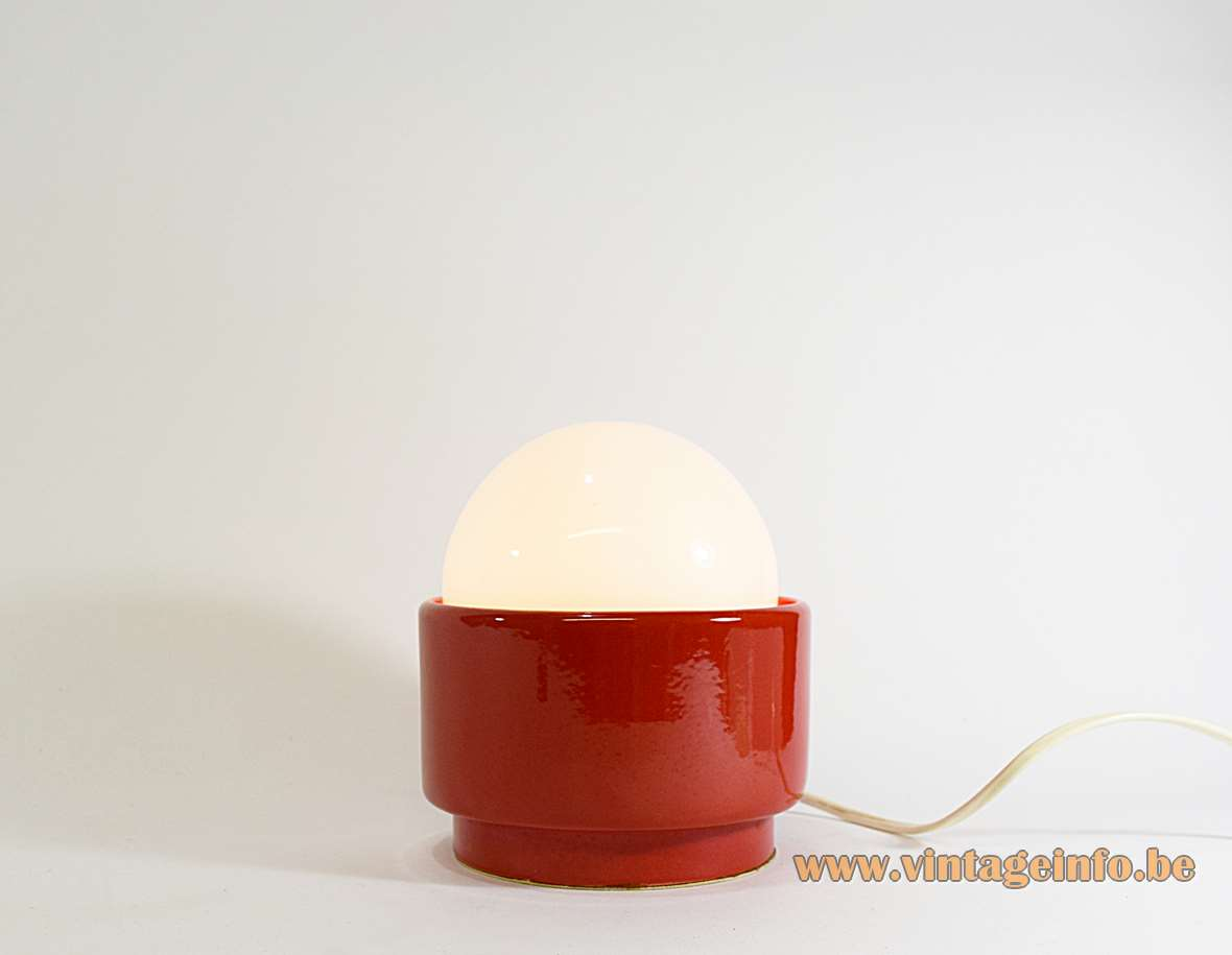 1960s round red porcelain table lamp ceramic base white opal glass globe lampshade B22 socket 1970s