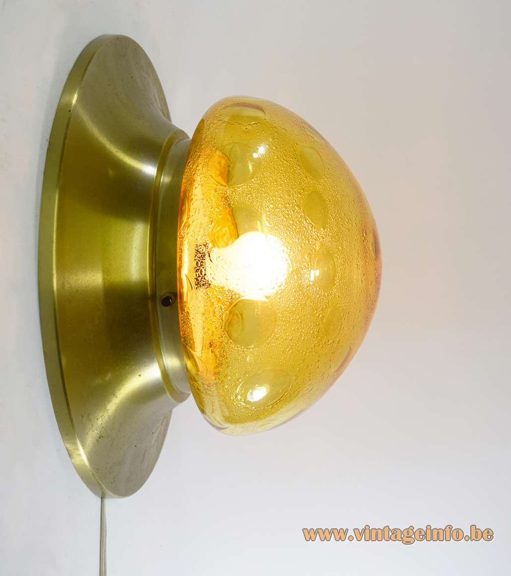 1970s amber glass flush mount ceiling lamp round gold aluminium base bubble glass lampshade Dijkstra 1960s