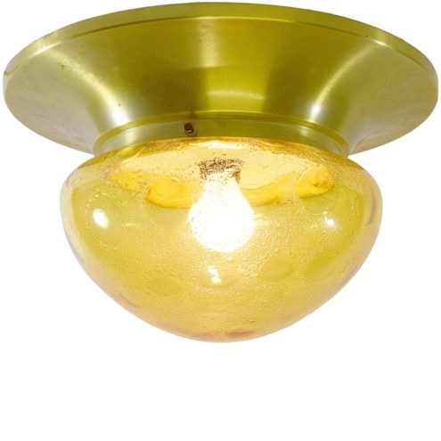 Amber glass flush mount ceiling lamp Dijkstra aluminium bubble glass 1960s 1970s MCM Mid-Century Modern