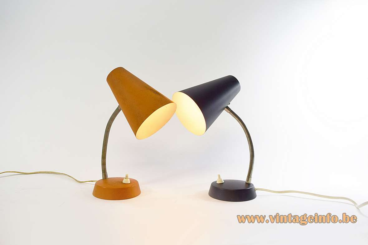 1970s East German Desk Lamps round metal conical base & lampshade chrome gooseneck VEB Leuchtenbau Lengefeld MCM 1960s