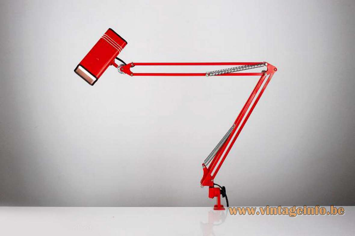 1970s Fase Architect Clamp Lamp square balk beam red perforated lampshade 1980s Spain MCM