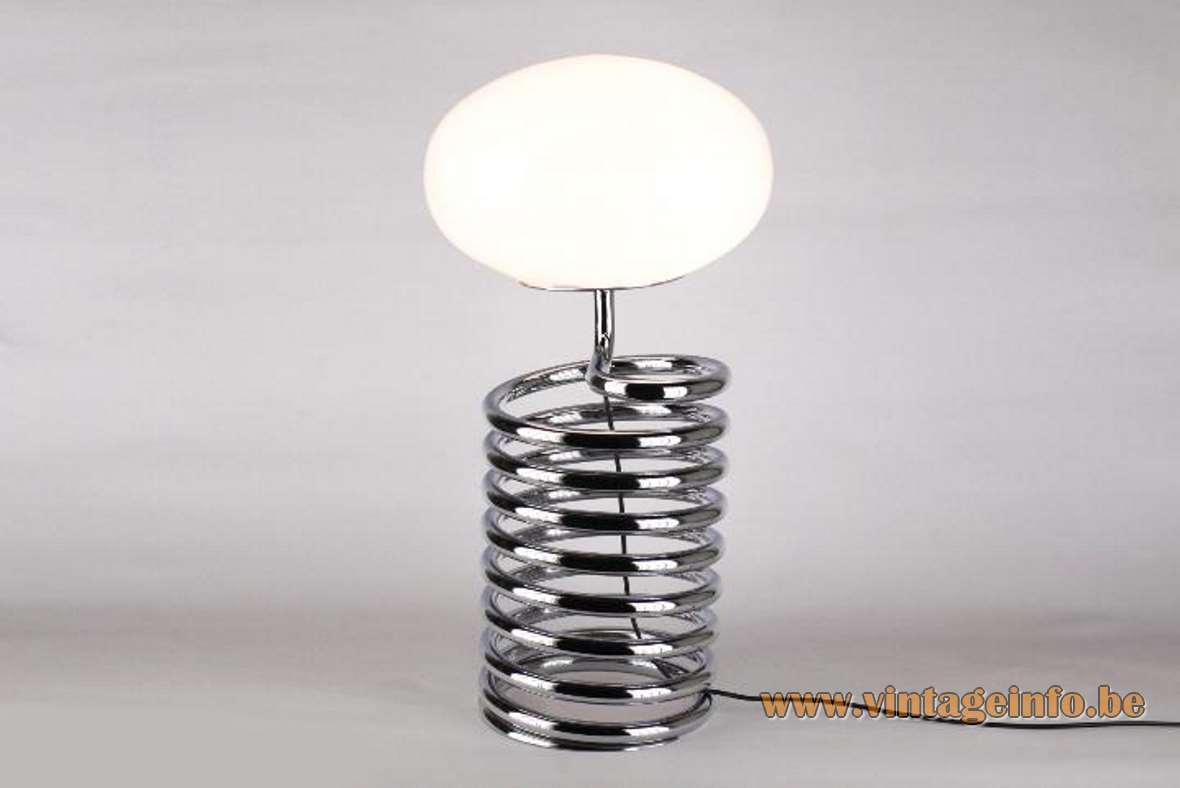 1970s Fase spiral table lamp chrome metal spring white opal oval glass globe Ingo Maurer 1960s