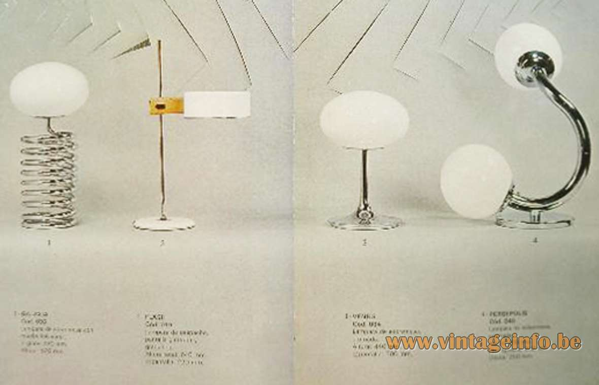 1970s Fase Spiral Table Lamp chromed metal spring white opal glass oval globe Ingo Maurer MCM