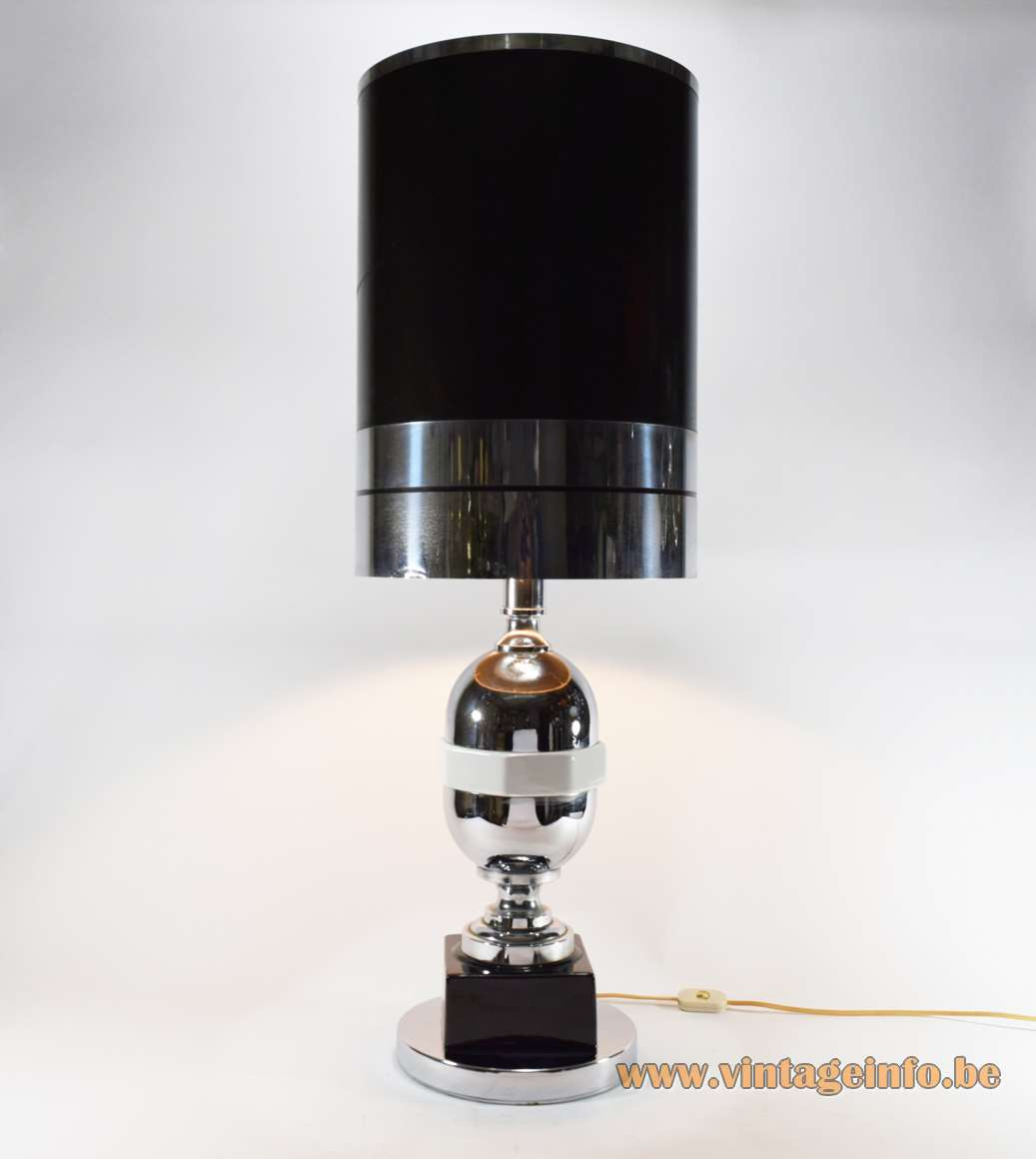 1970s geometric ceramics & chrome table lamp round base square hexagon porcelain tubular globe lampshade Massive Belgium