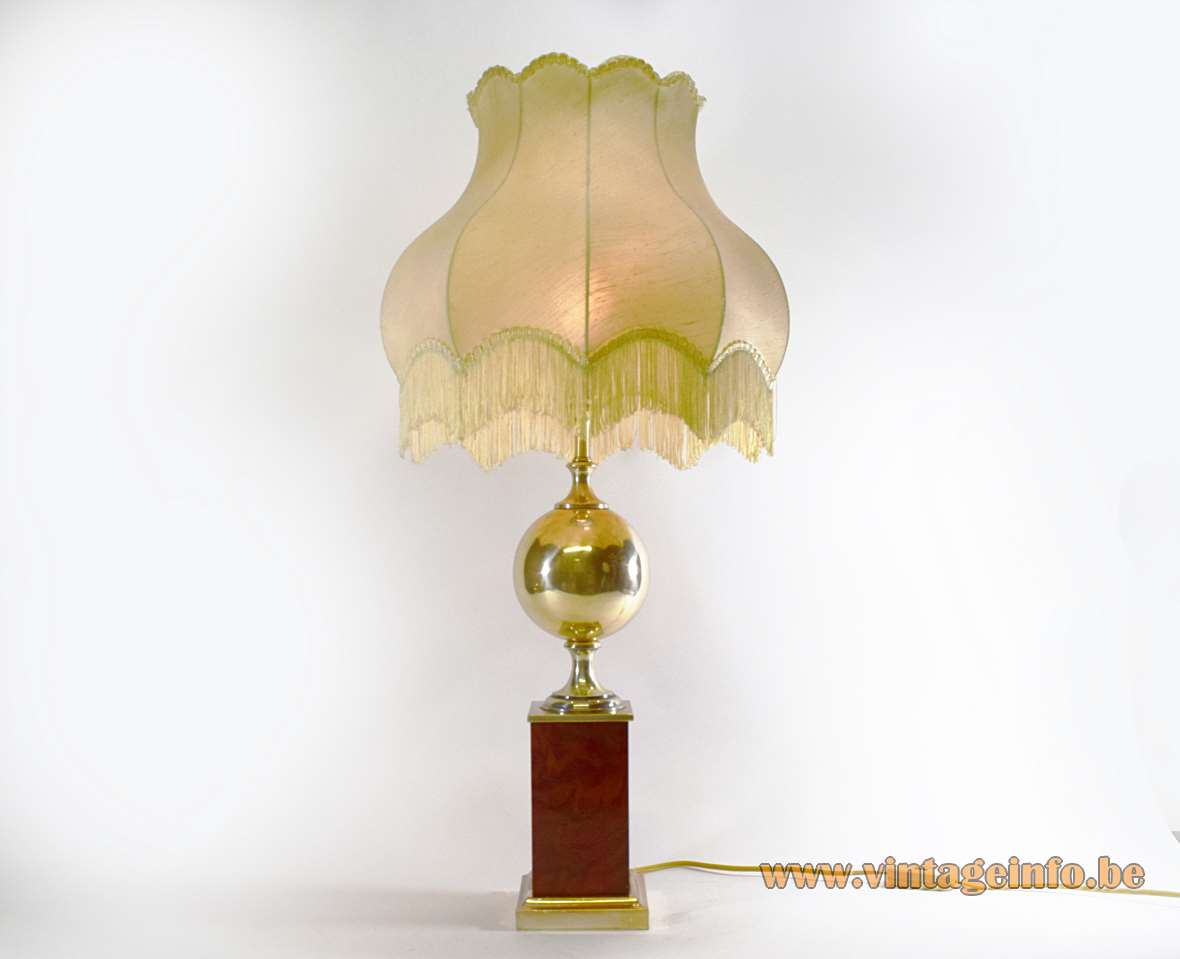 1970s Silver Plated Table Lamp square base big globe kitsch Maison Barbier style fabric lampshade frills