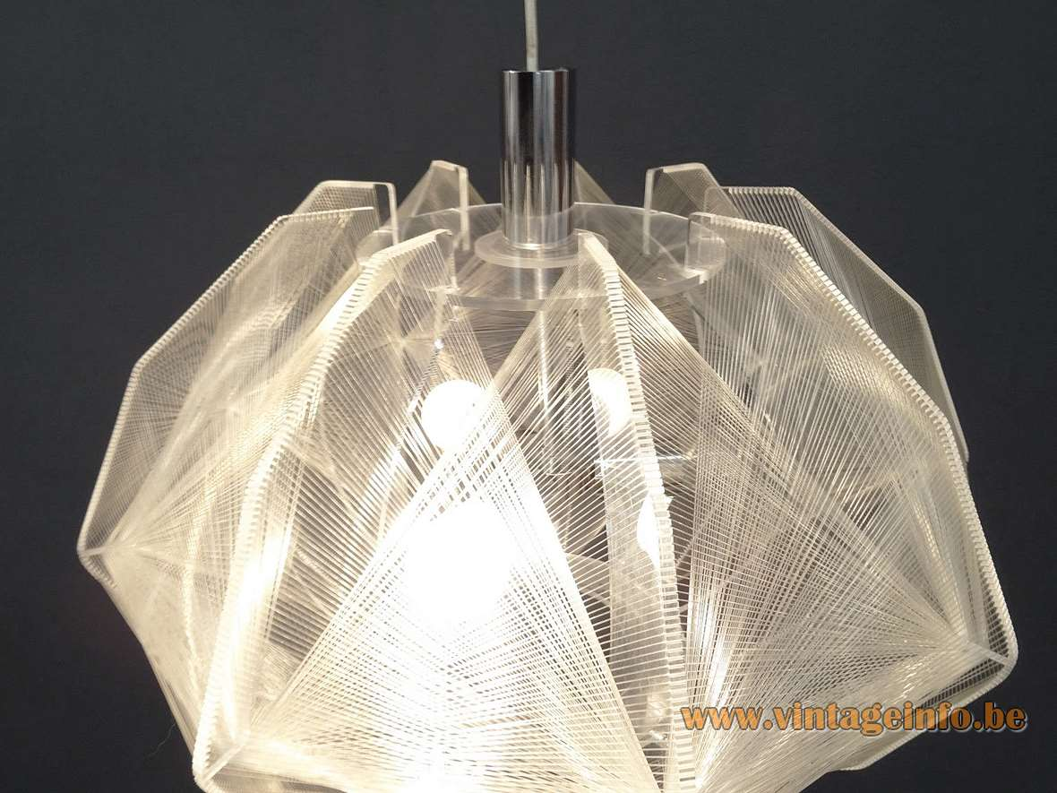 1970s Sompex Pendant Lamp Paul Secon design acrylic geometric plexiglass nylon thread MCM