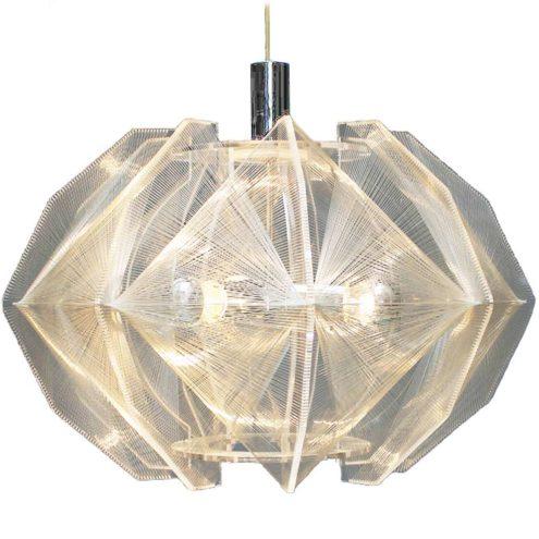 1970s Sompex Pendant Lamp Paul Secon design acrylic geometric plexiglass nylon thread MCM
